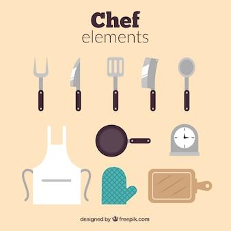 Keukenelementen en schort in vlakke vormgeving