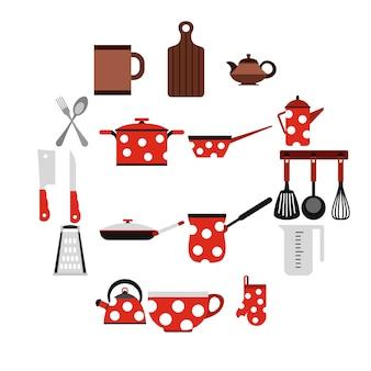 Keukengereedschap en keukengerei pictogrammen, vlakke stijl