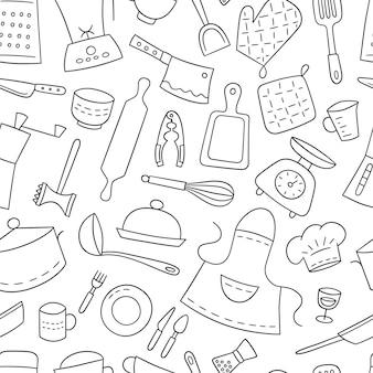 Keukengereedschap en tafelgerei. koken. naadloze patroon.