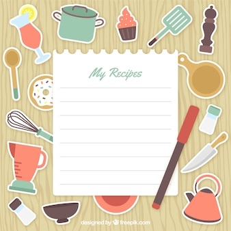 Keukengereedschap etiketten met een document nota