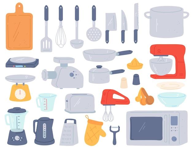 Keukengereedschap. kookgerei en elektrische apparaten voor het bakken van oven, mixer, weegschaal, vleesmolen. thuis kookgerei in minimalistische stijl vector set. broodrooster, kan voor water en glas, koekenpan en steelpan
