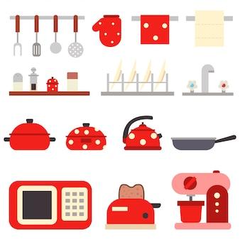 Keukengereedschap om te koken. werktuig en huishoudelijke apparaten vlakke reeks die op witte achtergrond wordt geïsoleerd.