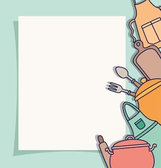 Keukengereedschap pictogrammen op kaart