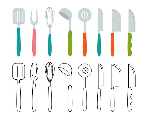 Keukengereedschap vork zwaaien, lepel gebruiksvoorwerpen cartoon set