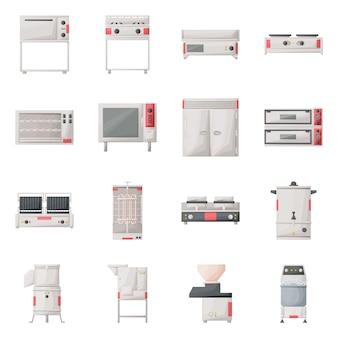 Keukengerei cartoon icon set. geïsoleerde illustratie oven, fornuis, koelkast en andere apparatuur voor keuken. pictogram set van professionele keukengerei.