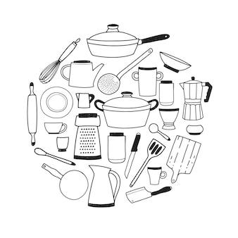 Keukengerei contour set. ronde compositie met gestileerde hand getrokken doodle gerechten vector illustratie.