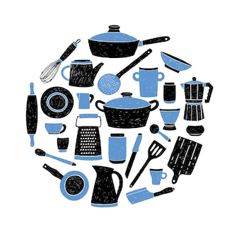 Keukengerei dat op witte achtergrond wordt geplaatst. ronde samenstelling met gestileerde hand getrokken doodle gerechten illustratie.