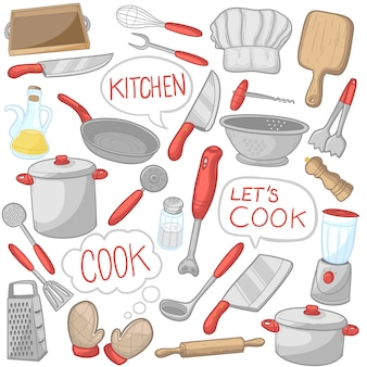 Keukengerei kookgerei illustraties kleurenpictogrammen
