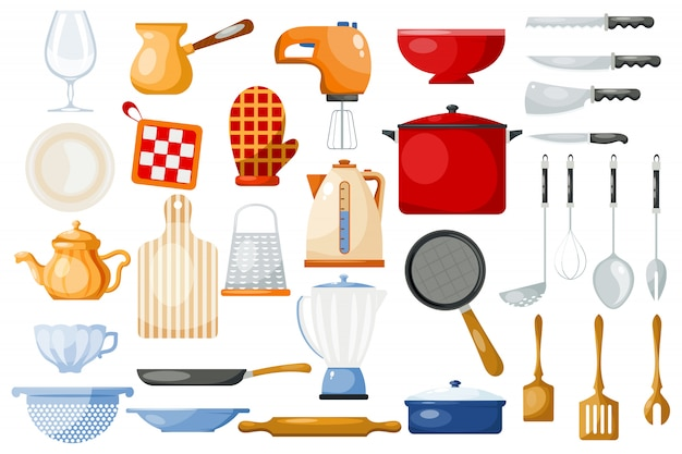 Keukengerei kookgerei om te koken en keukengerei of bestek voor serviesgoed in keukenset