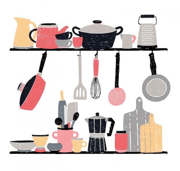 Keukengerei op de plank en tafel. gestileerde hand getekende illustratie op witte achtergrond.