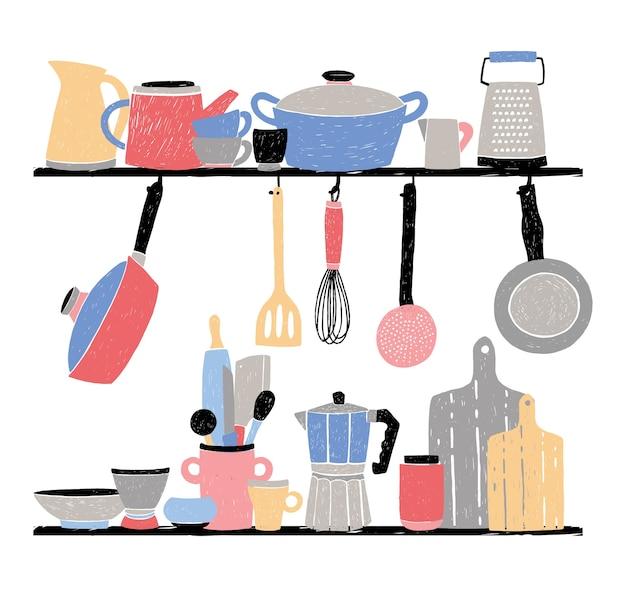 Keukengerei op plank