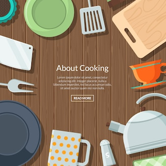 Keukengerei plat pictogrammen op houten textuur met plaats voor tekst