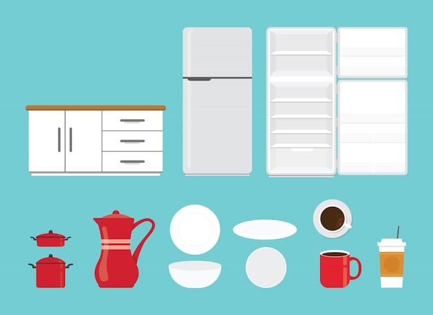Keukengerei vastgestelde inzameling met diverse vorm en model met modern vlak stijl geïsoleerd voorwerp