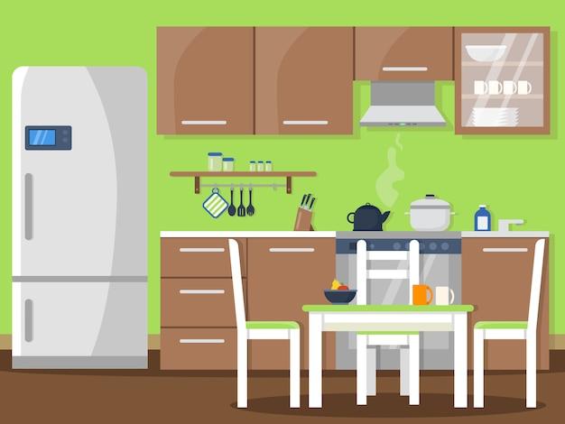 Keukeninterieur in vlakke stijl
