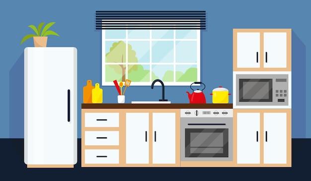 Keukeninterieur met apparatuur en raam