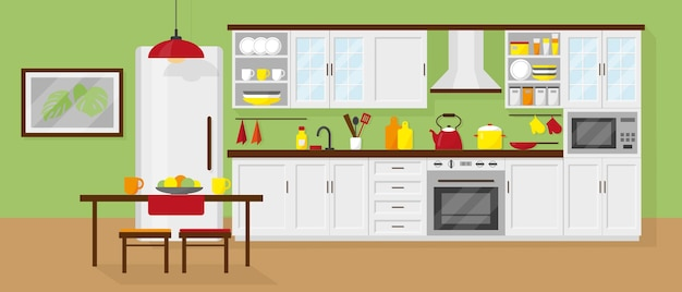 Keukeninterieur met meubels, koelkast, magnetron, tafel en serviesgoed.