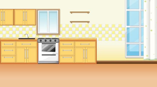 Keukeninterieur met meubels