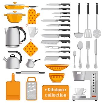 Keukeninzameling van scherpe messen, zilveren vaatwerk, ijzerketels, geschikt werktuigen, koffiemachine en gestippelde pannenlappen vectorillustraties.