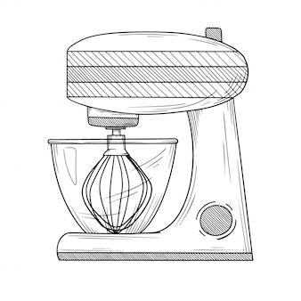 Keukenmachine met verschillende pijpen geïsoleerde illustratie