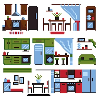 Keukenmeubels set geïsoleerd op een witte achtergrond. vectorillustratie in pixel kunststijl.