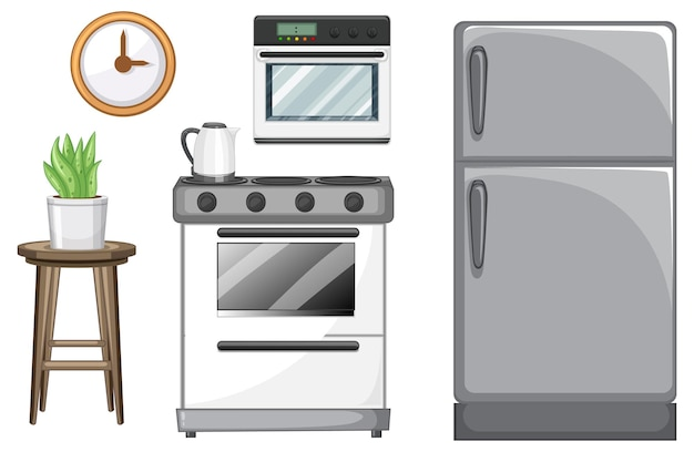 Keukenmeubels set voor interieur op witte achtergrond