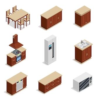 Keukenmeubilair isometrische icons set