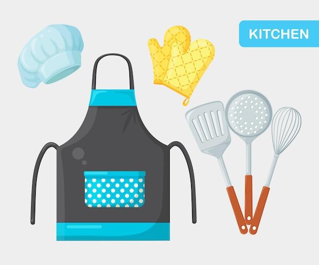 Keukenschort, toestellen, pollepel, spatel, koksmuts, kookhandschoenen. restaurant benodigdheden
