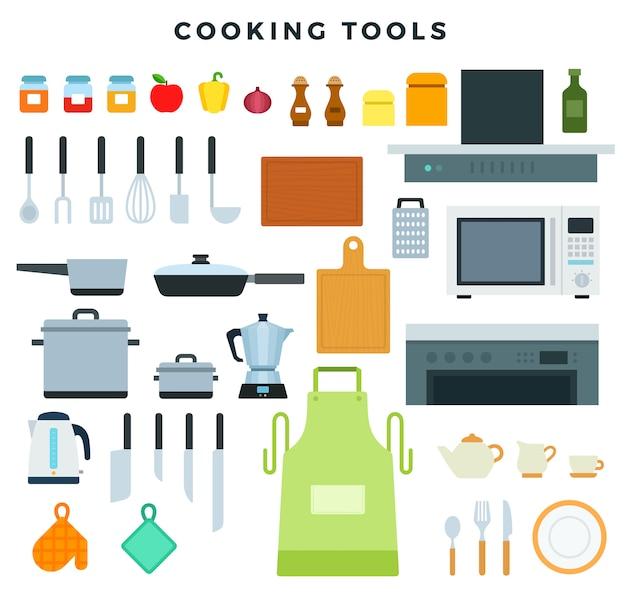 Keukentoestellen, werktuigen en aardewerk, reeks pictogrammen. kookgerei en specerijen.