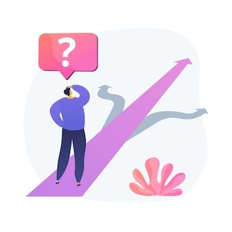 Keuze abstract concept vectorillustratie. besluitvorming, oplossing vinden, meerdere mogelijkheden, keuzevrijheid, no-brainer, moeilijkheidsgraad, management abstracte metafoor.