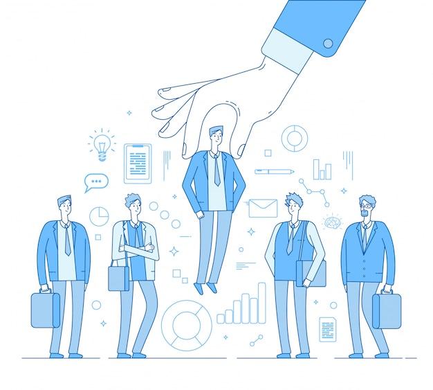 Keuze werkgever. hand kiezen man uit geselecteerde groep mensen. menselijke werving op jacht, het kiezen van een kandidaat