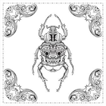 Kever die een kever met een gezichtsmasker op het ontwerp van de vleugelshand getrokken illustratie graveert
