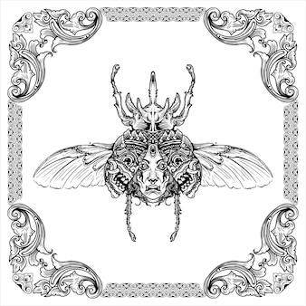 Kever gravure een hertenkever met een gezicht en een masker op het ontwerp van de vleugels hand getrokken illustratie