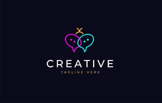 Kever neon chat logo ontwerp pictogrammalplaatje