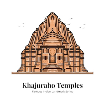 Khajuraho-tempels indiase beroemde iconische bezienswaardigheid cartoon lijntekeningen illustratie