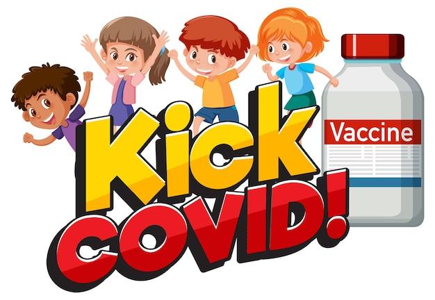 Kick covid-lettertype met veel stripfiguren voor kinderen