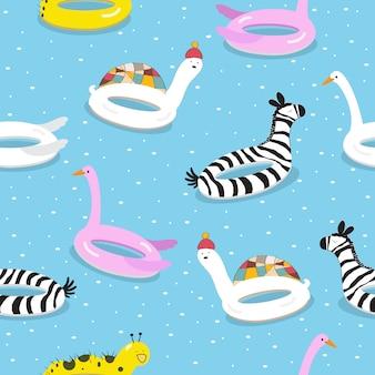 Kid achtergrond met zwemmen ring patroon illustratie Premium Vector