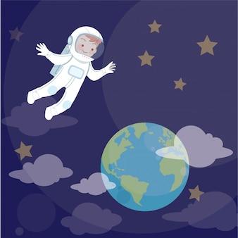Kid astronaut en aarde vectorillustratie