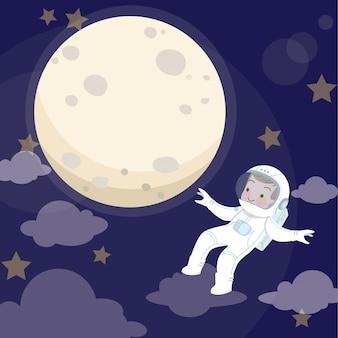 Kid astronaut en maan vectorillustratie