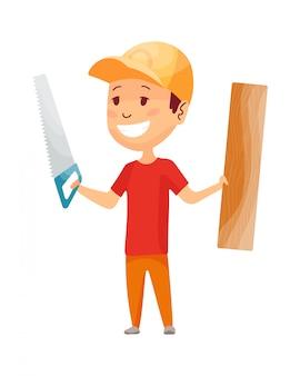 Kid bouwer. weinig arbeider in helm. kinderen met bouwgereedschap zagen en bord maken werk. werkende bouwer in gele helm
