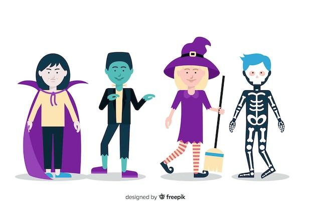 Kid collectie kostuums voor halloween nacht