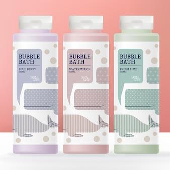 Kid en baby gezondheid of lichaamsverzorging shampoo conditioner zeep crème of bubbelbad