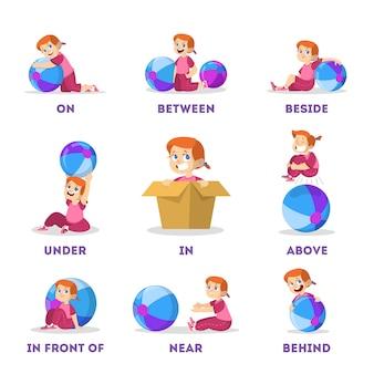 Kid en bal set. leren voorzetsel concept. kleine meid