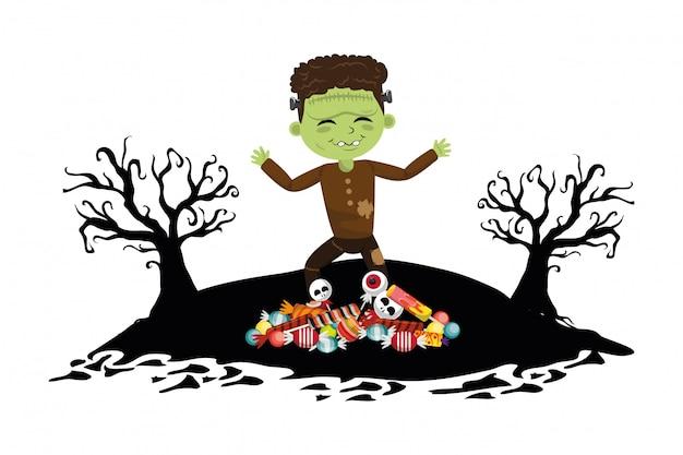 Kid en halloween tekenfilms