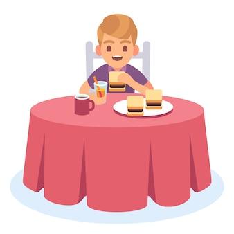 Kid eten. kind eten gekookt ontbijt diner lunch, gezondheid voedsel drinken maaltijd hongerige jongen tafel plaat, stripfiguur