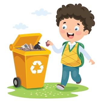 Kid gooi vuilnis in prullenbak