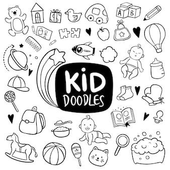 Kid hand getrokken doodle objecten
