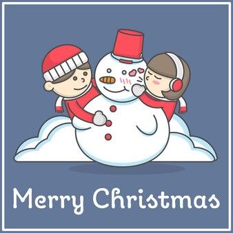 Kid houdt altijd van sneeuwpop in platte cartoon in platte cartoon design voor decoratie en design e