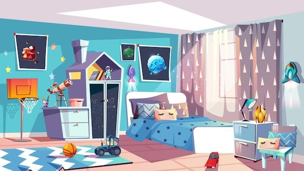 Kid jongen kamer interieur illustratie van moderne slaapkamermeubilair in blauwe scandinavische stijl.