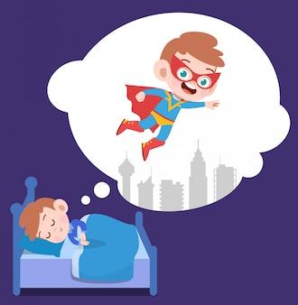 Kid jongen slaap droom