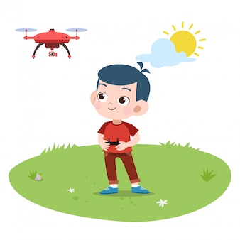 Kid jongen spelen afstandsbediening